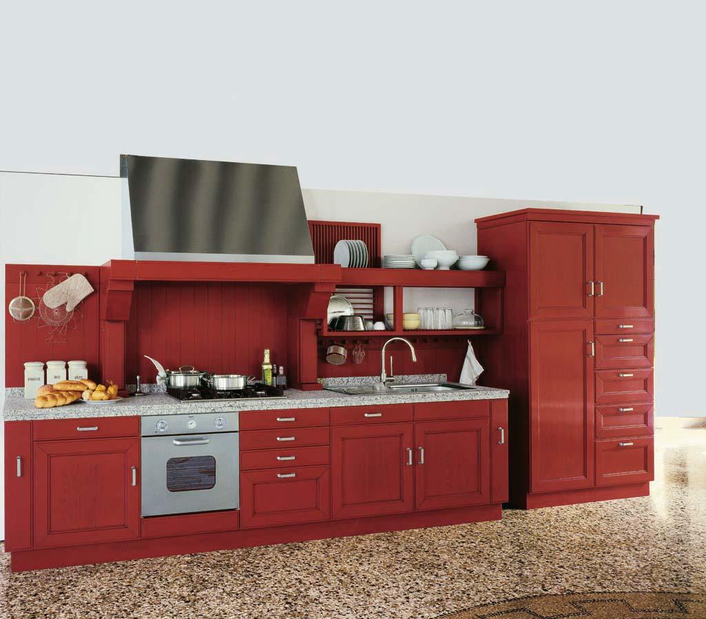 Arredamento cucina classica ~ Settecento laccato rosso